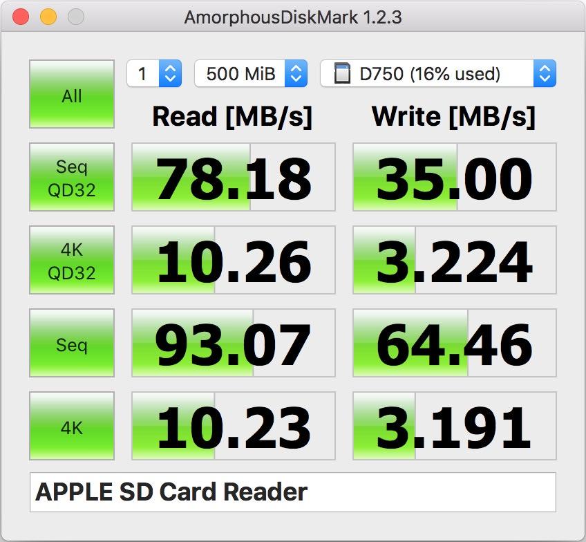 MacbookPro2014を使ったSDカードの読書速度