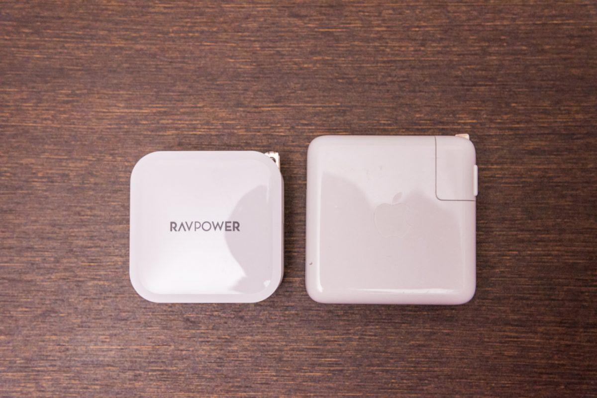 RP-PC128と純正充電器のサイズ比較