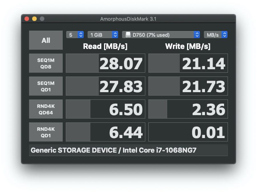Opro9のSDカードへの読み書き速度